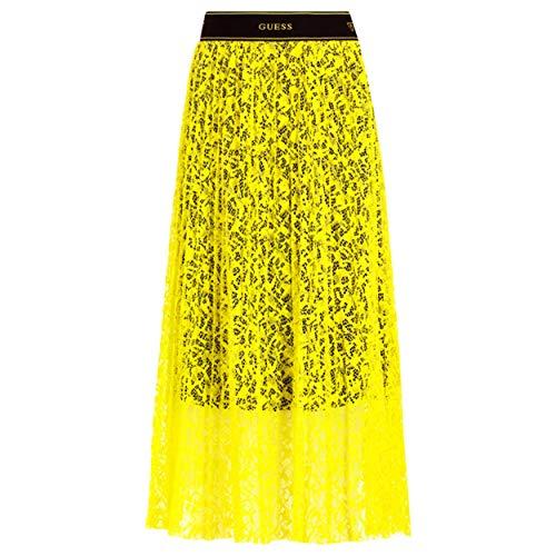 Guess - Falda de Encaje Amarillo neón con Forro Entero, Color Negro