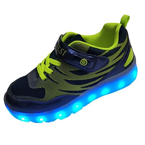 DAYATA Led Schuhe für Kinder Junge Mädchen Helle Turnschuhe Sneaker Mode (32 EU, dunkle Marine)