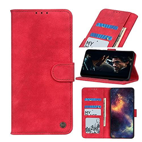 WANTONG Cubierta de la Caja del tirón del teléfono para Samsung Galaxy A90 5G Flip Wallet Funda Kickstand Tarjetas Slots Cierre magnético Funda Protectora a Prueba de Golpes (Color : Red)