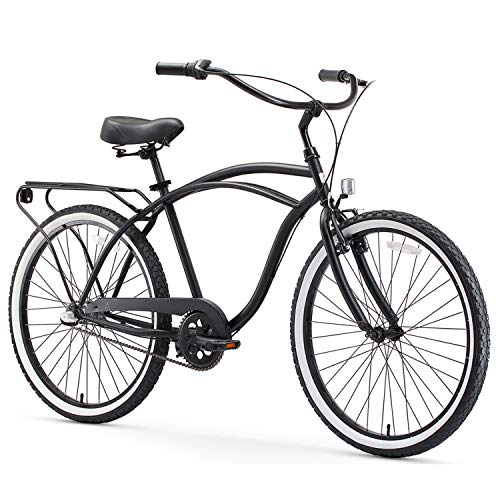 sixthreezero Around The Block Men's 3-Speed Beach Cruiser Bicycle, 24' Wheels, Matte Black with Black Seat and Grips