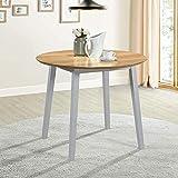 Mesa de cocina de roble circular de madera maciza pequeña para el hogar Muebles casuales,White