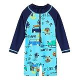 HUAANIUE Baby/Toddler Boy Swimsuit Rashguard Swimwear Long Sleeve One-Piece Car 2-3 T