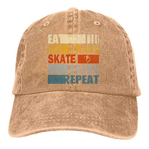 Hoswee Baseballmütze Hüte Kappe Unisex Baseballmütze Eat Sleep Skateboard Repeat Cotton Jean Cabbie Cap für Herren