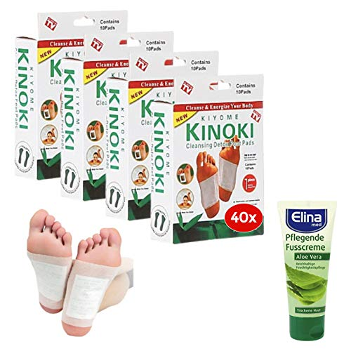 NECESITAS-Set 40x Detox Fußpflaster mit Pflege-Fusscreme Aloe Vera   Entgiftungspflaster Füße für den perfekten Detox   Fusspflaster zum Entgiften mit Aloe Vera Pflege Creme