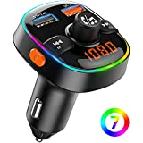 TEUMI FM Transmitter for Car Bluetooth 5.0, 7 Colors Ambient Light Bluetooth Car