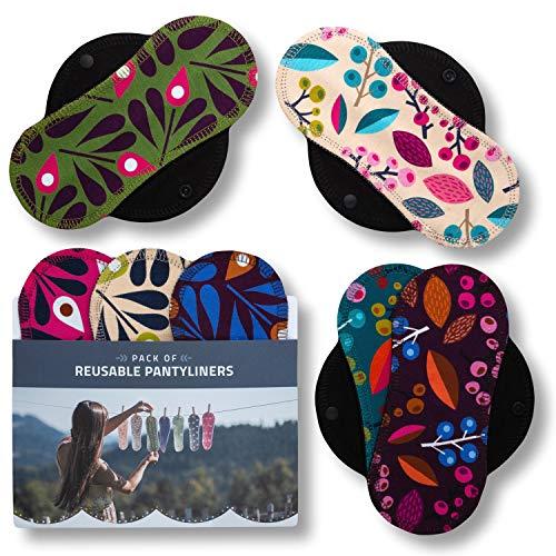 Salvaslips de tela reutilizables, 7-Pack Protege Slips de algodón ORGÁNICO con alas negras HECHAS EN LA UE, Compresas sin PUL, Toallas Sanitarias para uso diario y flujo blanco, NO para menstruación
