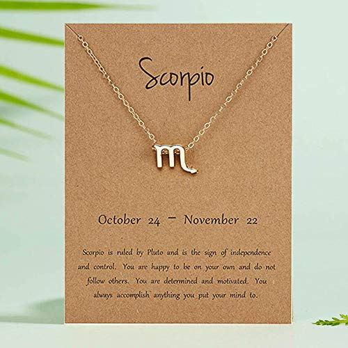 DRTWE Zodiac Necklace,Scorpio Female Elegant Star Zodiac Sign 12 Constellation Necklaces Pendant Charm Gold Chain Choker Necklaces For Women Jewelry Cardboard