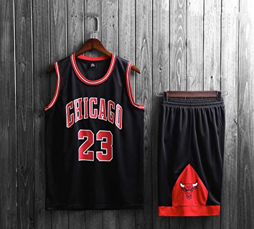 Mens Michael Jordan # 23 Chicago Bulls Retro Basketball Shorts Sommer Trikots Basketball-Trikot Top & Short Sport,Schwarz,XXXL