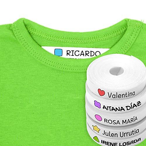 100 Etiquetas Personalizadas para ropa con Icono en Color a seleccionar. Tela Blanca. (Formas)