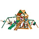 Gorilla Playsets 01-0004-TS Frontier Wooden Swing Set with Timber Shield Posts, Rock Climbing Wall, Slide and...