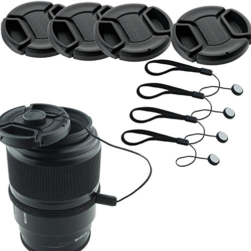 49mm Lens Cap Bundle - 4 Snap-on Lens Caps for DSLR Cameras - 4 Lens Cap Keepers - Microfiber Cleaning Cloth Included - Compatible Nikon, Canon, Sony Cameras (49mm)