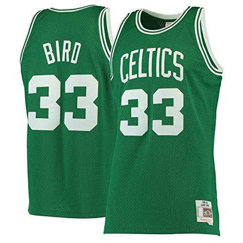 LANHUA Hardwood Classics Swingman JerseyOutdoor #33 Larry Boston Basketball Jersey Celtics Top Sin Mangas #33 Bird Manga Corta Kelly Verde - Icono Edition-L