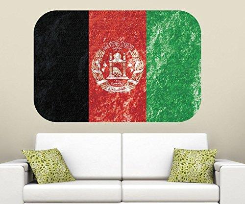 Afghanistan Wandbild afghanische Flagge Wandaufkleber Wandsticker Land in Asien Wohnzimmer Aufkleber Sticker 11B402, Wandbild Größe B:144x96cm