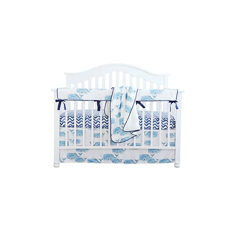 crib bedding and baby bedding sahaler baby crib bedding set for boys | 4 pieces set of whale nursery bedding | baby blanket & fitted crib sheets & skirt & rail cover - whale