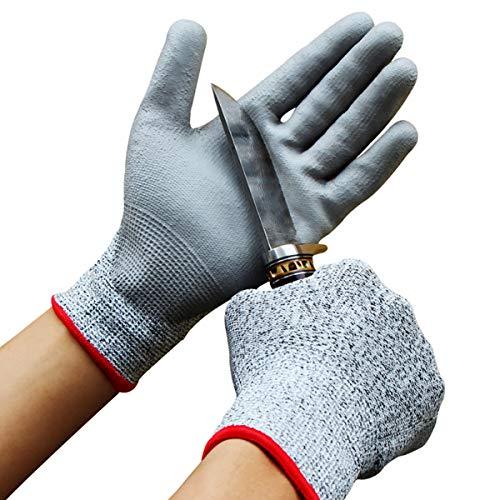 Biluer 2 Paare Schnittfeste Handschuhe Extra Starker Level 5 Sicherheitshandschuhe Arbeitshandschuhe für Küche, im Garten, im Beruf Schneiden Schutz(Größe M and L)