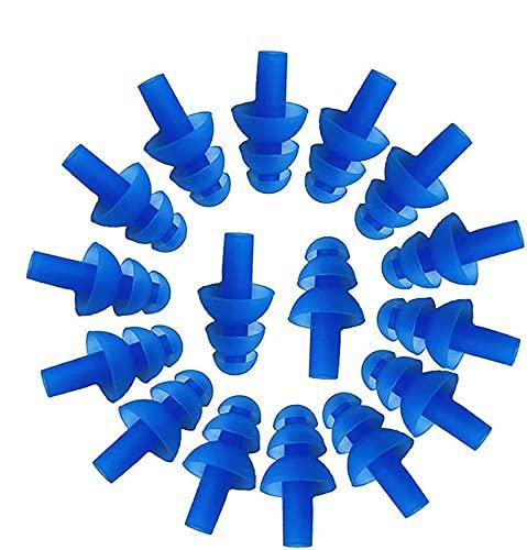 Wady 16PCS tappi per le orecchie in silicone morbido tappi per le orecchie nuoto flessibile auricolari per nuotare, tappi può ridurre il rumore quando si dormeortevole.(blu)