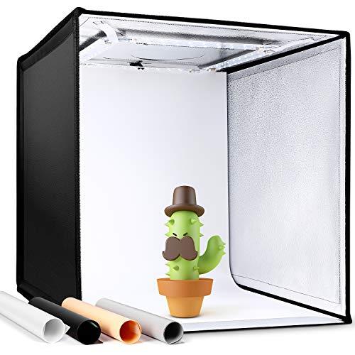 Amzdeal Fotostudio Lichtzelt 50x50x50 cm Tragbare Faltbare Studiobox mit 3000-6500K Dimmbare LED Beleuchtung Fotobox Zelte mit 4 Hintergründen (Schwarz, Weiß, Grau, Orange)