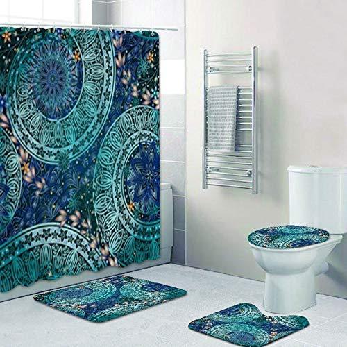 AIDEMEI 4PCS Ethnic Mandala Türkis Duschvorhang Set für Badezimmer Abstrakt Blumen Bad Vorhang mit Matte Teppich Teppich Home Decor Geschenk 180X180CM