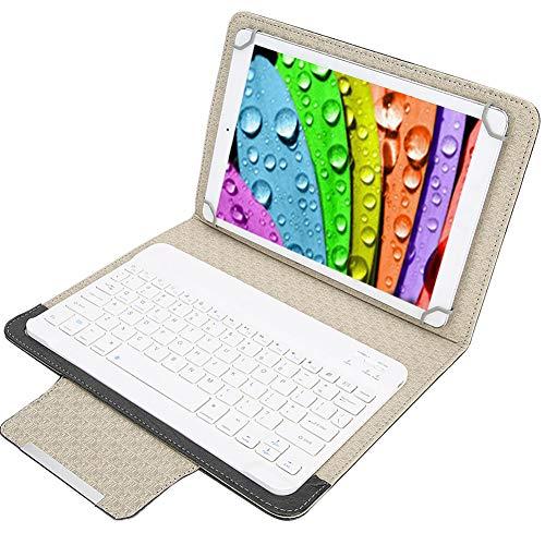 Topiky Funda de Teclado de 10 '', Cubierta Protectora de Cuero de PU Impermeable Slim Shell con Teclado de ergonomía Desmontable inalámbrico Bluetooth para Tableta portátil