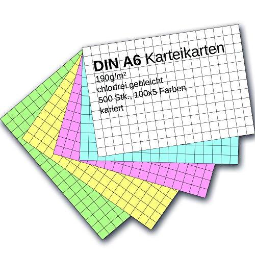 Karteikarten 500 Stück A6 farbig kariert
