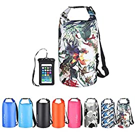 OMGear Waterproof Dry Bag Backpack Waterproof Phone Pouch 40L/30L/20L/10L/5L Floating Dry Sack for Kayaking Boating… 1 HIGHTEST QUALITY THICK MATERIALS,100% WATERPROOF GUARANTEED :OMGear dry bag is made by rugged 500D PVC tarpaulin , vinyl-coated for waterproof protection.Waterproof phone pouch is made by quality ABS+PVC with reinforced entry,which is worth $12 alone.You smart phone can trust our waterproof phone pouch. DOUBLE FLOATABLE ADJUSTABLE EVA BACK STRAPS:Unlike normal dry bags with one nylon shoulder strap,we make two back straps with adjustable buckles,allows for comfortable carrying and fit for most body sizes. The double straps are made by EVA material,which is same material as life vest,so the dry bag is floatable. COMPREHENSIVE USAGE:The dry backpack can float on water after rolled and buckled,,perfect for all outdoors activities,like diving, kayaking, boating, sailing, canoeing,surfing,fishing,rafting ,hiking ,camping, beach activities ect..