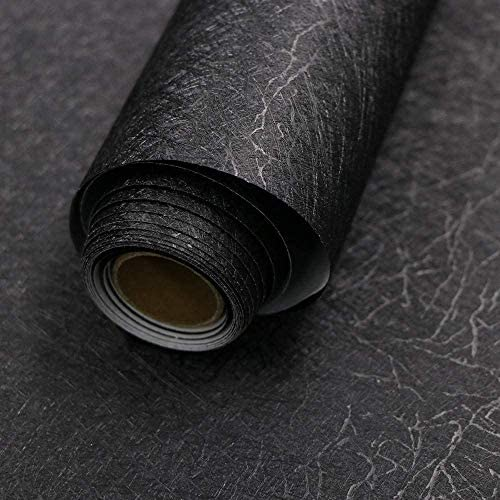 Black Self Adhesive Wallpaper Stick On Removable Embossed Peel and Stick Vinyl 40cm X 300cm for Home Decoration Kitchen Worktops Furniture Stickers Solid Color Silk Paper Christmas Decorations