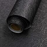 23.6' X 196.8' Black Silk Wallpaper Embossed Self Adhesive Peel and Stick Wallpaper Removable Kitchen Wallpaper Vinyl Black Wallpaper Cabinet Furniture Countertop Shelf Paper