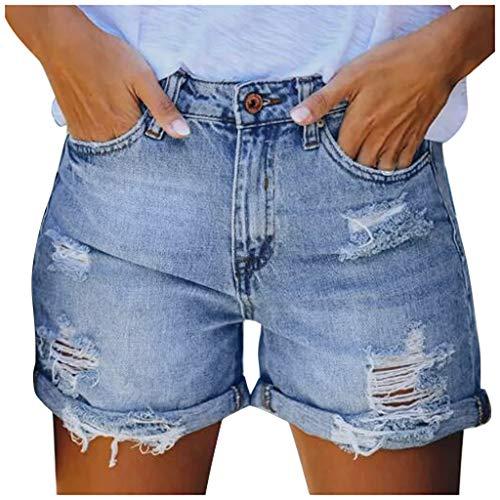 Buy Bargain Dainzusyful Women Casual Frayed Destroy Denim Ripped Short Jeans Mid Waist Washed Distre...