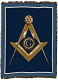 Masonic Gold Square and Compass - X Large - Cotton Woven Blanket Throw - Made in The USA (82x62)