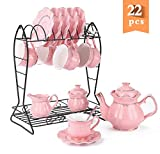 22-Piece Porcelain Ceramic Tea Gift Set with Metal Holder, Coffee Service Set with Cups, Saucers,...