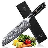 TURWHO Santoku Messer Damast,extra Scharfes Klingenblattö 18cm aus Profi Küchenmesser Damastmesser,Japanisches kochmesser, Japanisches VG-10 & ergonomischer G10 Griff