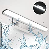 Lámpara de Espejo Baño LED 9W Ketom IP44 Aplique Espejo LED Blanca Fría 6000K LED Lámpara de espejo 900LM Lámpara de Pared Espejo de Acero Inoxidable Para Maquillaje, Espejo, Baño, 40cm