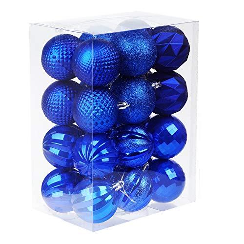 Keepax 24pcs Christmas Ball 60mm/2.36' Seasonal Holiday Party Decorations Christmas Tree Hanging Ball Set for Xmas Tree Pendant Decorations (Navy Blue) (Navy Blue, 60mm/2.36')