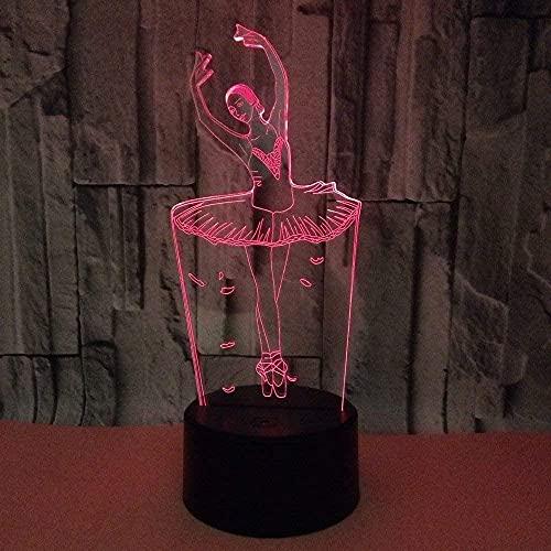 Luz de noche LED de visión 3D de 7 colores para niña de ballet, adecuada para el tacto de los niños, lámpara de mesa USB, luz de noche para dormir para bebés