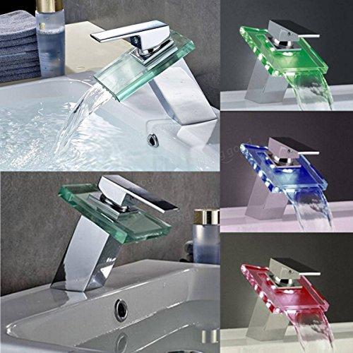 easyshop Moderno miscelatore ad alta luminosità colorato LED cascata rame bagno di vetro del bacino rubinetto lavabo