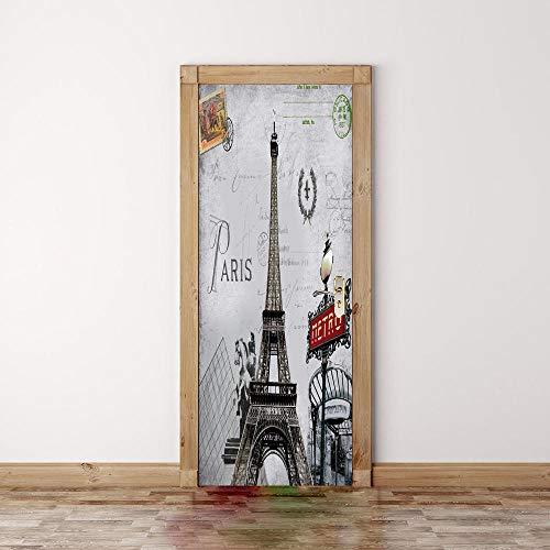 Bdhnmx 3D deur Muurschilderingen Peel en Stick Parijs toren stempel muurkunst afbeelding Muurtattoo Decoratie zelfklevend behang verwijderbare poster 77x200cm