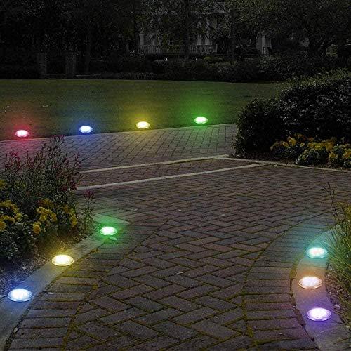 Juego de luces de disco con energía solar de 4 luces solares de tierra con 8 luces LED de jardín al aire libre para iluminación impermeable de camino de jardín