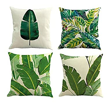 Pack of 4 Decorative Cushion Cover Cotton Linen Throw Pillow Case Cover Sofa Home Décor ,18 18 ,Tropical Leaves