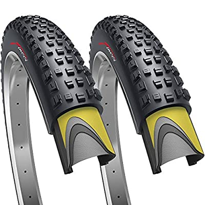 Fincci Pair 29 x 2.25 Inch 57-662 Foldable 60 TPI All Mountain Enduro Tires with Nylon Protection for MTB Hybrid Bike Bicycle - Pack of 2