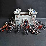 58bh Medieval Castle Knights Action Figure Toy Army Playset with Assemble Castle, Catapult and Horse-Drawn Carriage Great Gift for Girls and Boys
