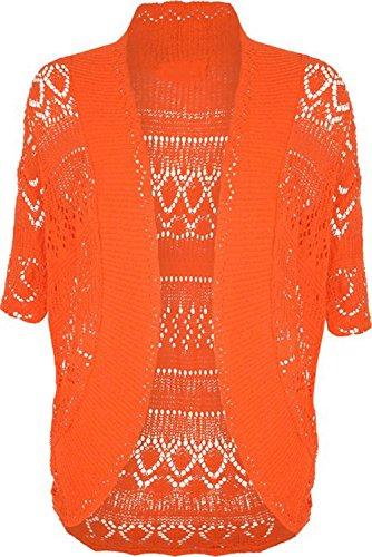 ZJ Clothes Plus Size Womens Crochet Knitted Shrug Cardigan Sweater Orange