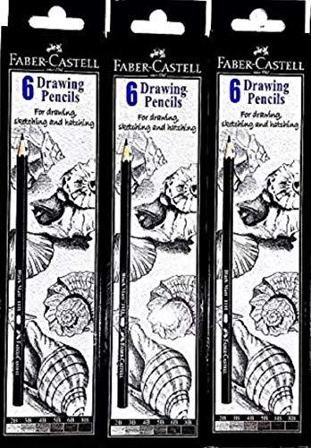 Faber-Castell Graphite 2B, 3B, 4B, 5B, 6B, 8B Pencil (Pack of 3)