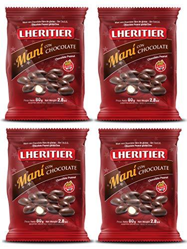 LHERITIER Mani, Alemendas, Confites y Garrapiañadas. (Mani Bañado con Chocolate 80 gr., 4 Pack)
