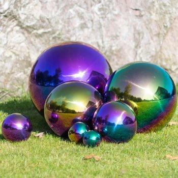 CIM Dekokugel aus Edelstahl - Dekokugel Rainbow Ø 6 cm - Leichte Hohlkugel, Gartenkugel, Schwimmkugel - Hochglanzpolierte Oberfläche mit dauerhaft spiegelndem Glanz