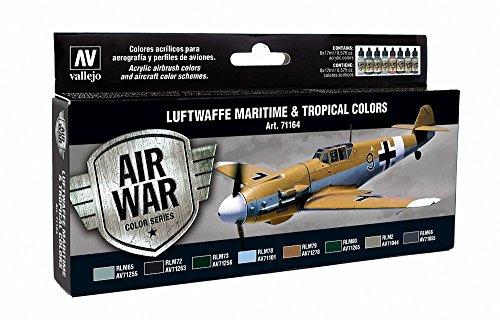 Vallejo Model Air RLM 3 Acrílico Pintura Conjunto de cepillo de aire - Surtido de Colores (paquete de 8)
