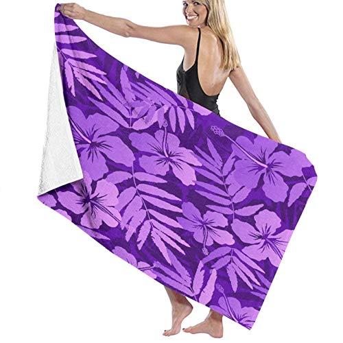 TISAGUER Toalla de baño de Microfibra Patrón de Trama Transparente de Flores Tropicales de Colores violetas Suave Hoja de baño de para el hogar,los baños,la Piscina Toallas Baño Toalla de Playa