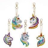 MWOOT 5D DIY Llaveros Diamante Pintura Kits,Mosaico Haciendo Doble Cara Taladro Colgante Diamantes de Imitación Llavero para Accesorios para Bolsos-Unicornio