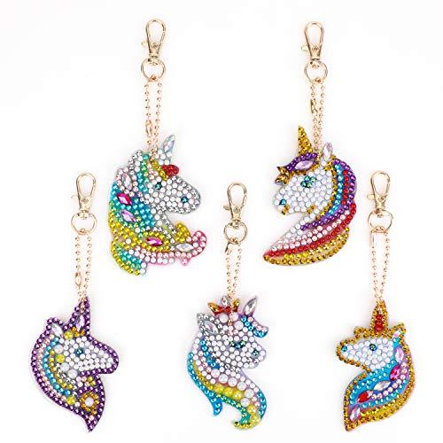 MWOOT 5D DIY Llaveros Diamante Pintura Kits,Mosaico Haciendo Doble Cara Taladro Colgante...