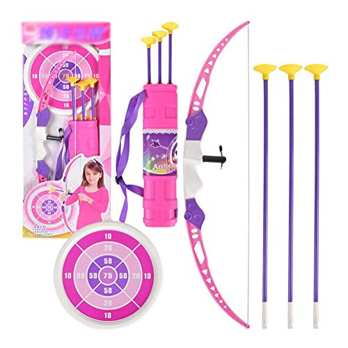 HGYYIO Outdoor Sports Game Kids Archery Toy Bring 3 Arrows, 1 Quiver, 1 Target, 1 Bow Lightweight Easy to Carry Archery Set Suitable for Girls Over 4 Years Old Best Gift