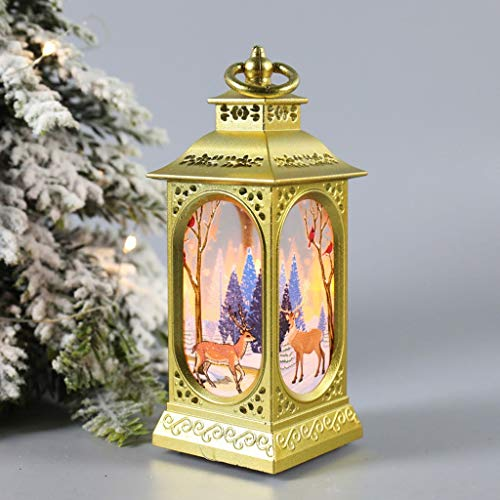 Christmas Retro Small Lantern - Small Oil lamp Hanging Lights Outdoor Lantern Waterproof Flickering Candle Mission Light,for Table Garden Patio Pathway Deck Yard Tea Light Candles (GN- 2PC)
